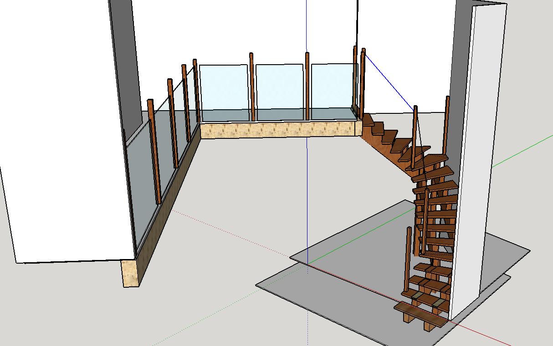 Escalier en chêne 2 virages + mezzanine Vueescalier